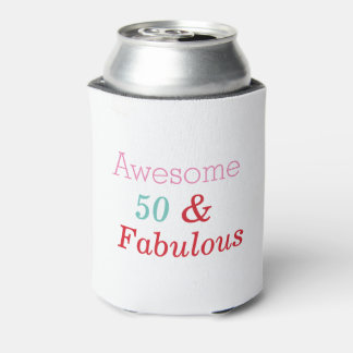 50 and Fabulous Elegant Birthday Gift Can Cooler