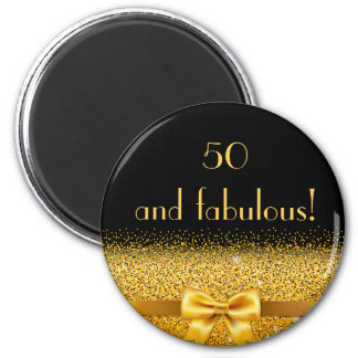 50 and fabulous elegant gold bow sparkle black 2 inch round magnet
