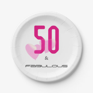 50 and fabulous elegant pink birthday paper plate