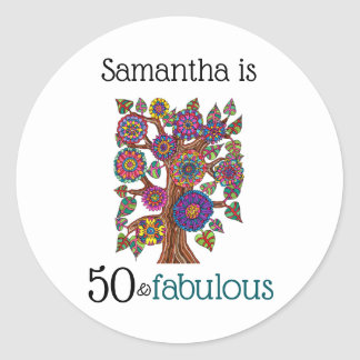 50 and Fabulous Flowering Tree Monogram Name Classic Round Sticker