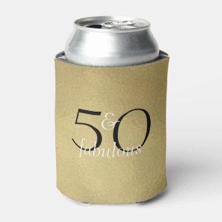 50 and Fabulous Glam Gold Black White Birthday Can Cooler