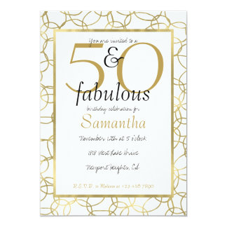 50 and Fabulous Glam Gold White Circles Party Card