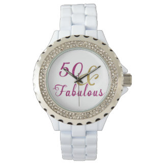 50 and Fabulous, Glam Pink and Gold Wristwatch