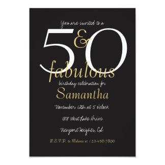 """50 and Fabulous Gold Black White 5"""" X 7"""" Invitation Card"""