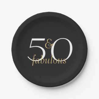 50 and Fabulous Gold Black White Party Plates 7 Inch Paper Plate