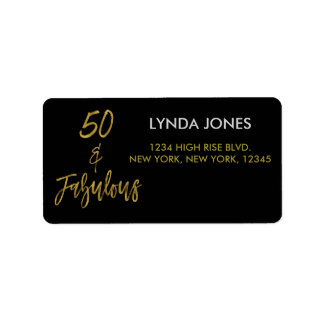 50 and Fabulous Gold Foil Birthday Address Label