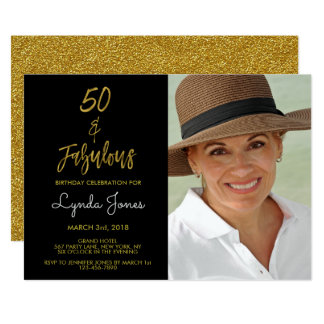 50 and Fabulous Gold Foil Birthday Invitation