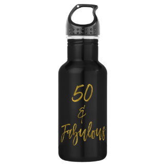 50 and Fabulous Gold Foil Birthday Water Bottle