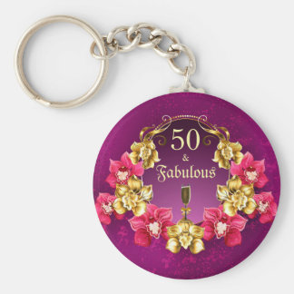 50 And Fabulous Gold Pink Orchids and Champagne Keychain