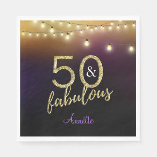 50 and Fabulous Gold Stars Purple Birthday Party Paper Napkin