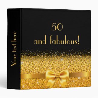50 and fabulous golden bow with sparkle on black binder