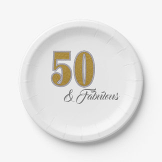 50 and Fabulous Golden Celebration Paper Plate