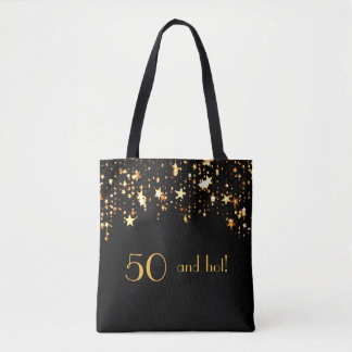50 and fabulous hot on black with stars tote bag