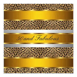 50 and fabulous Leopard Gold Party Invitation
