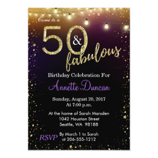 50 and Fabulous Lights and Stars Birthday Party Card