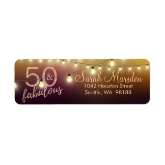 50 and Fabulous Lights Gold Black 50th Birthday