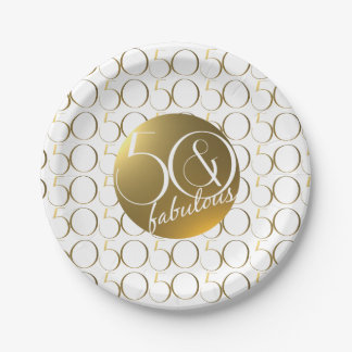 50 and Fabulous Metallic Gold Effect 7 Inch Paper Plate