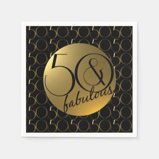 50 and Fabulous Metallic Gold Effect Party Disposable Napkin