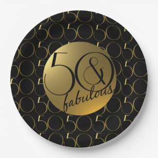 50 and Fabulous Metallic Gold Effect Party Plate 9 Inch Paper Plate