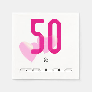 50 and fabulous modern black, pink birthday napkin