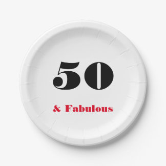 50 and Fabulous Old Person Paper Plate 7 Inch Paper Plate