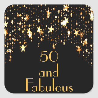50 and fabulous on black with shining stars square sticker