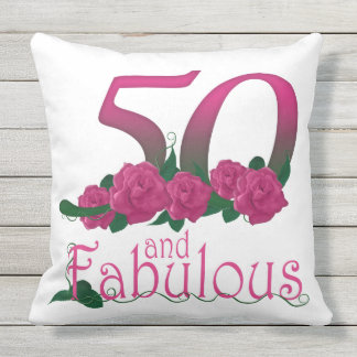 50 and fabulous Outdoor Throw Pillow