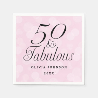 50 and Fabulous Paper Napkin - Pink & White