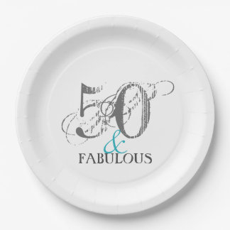 50 and Fabulous Paper Party Paper Plates 9 Inch Paper Plate