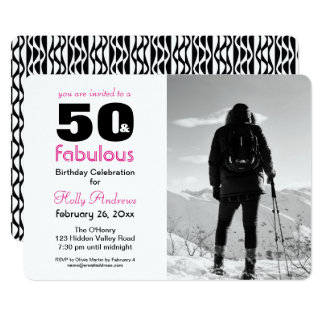 50 and Fabulous Party Invitation with B&W Photo