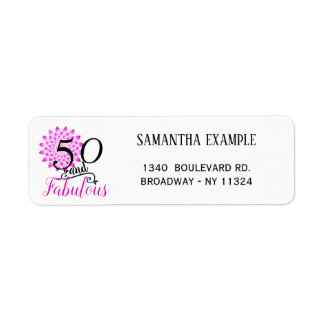 50 and Fabulous Pink 50th Birthday Return Address