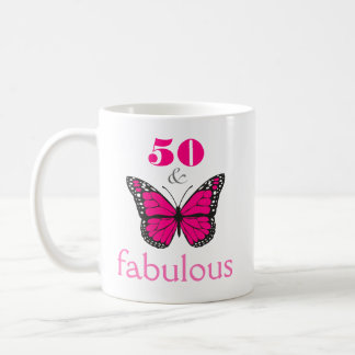50 and Fabulous Pink Birthday Butterfly Gift Coffee Mug