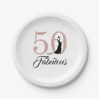 50 and Fabulous Pink Glitter Birthday Party Paper Plate
