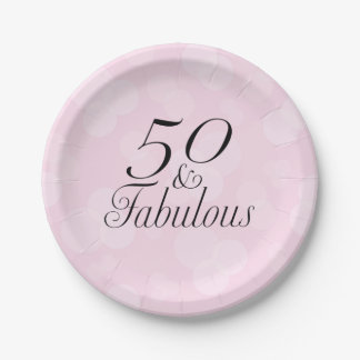 50 and Fabulous Pink Paper Plates