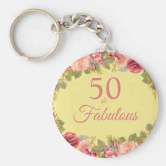 50 And Fabulous Pink Roses With Touches Of Gold Keychain