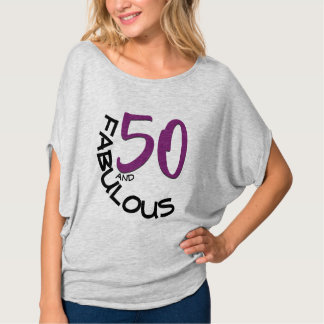 50 and Fabulous Purple & Black Typography T-Shirt