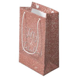50 and Fabulous Rose Gold Blush Pink Glitter Small Gift Bag