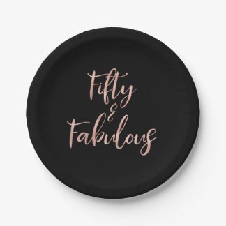50 and Fabulous Rose Gold Foil Birthday Paper Plate