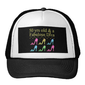 50 AND FABULOUS SHOE LOVER DESIGN TRUCKER HAT