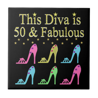 50 AND FABULOUS SHOE QUEEN CERAMIC TILE