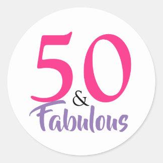 """""""50 and Fabulous"""" stylish 50th Birthday sticker"""