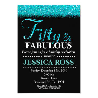 50 and Fabulous surprise birthday invitations