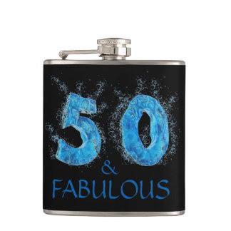 50 and Fabulous Swim Gift Swimming 50th Birthday Hip Flask