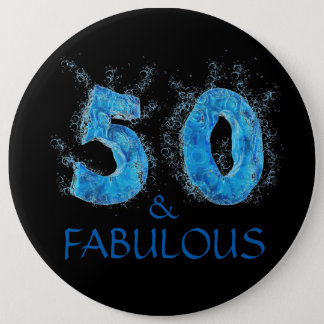 50 and Fabulous Swim Pool Swimming 50th Birthday 6 Inch Round Button