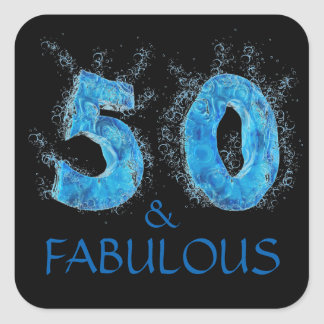 50 and Fabulous Swimmer Swimming 50th Birthday Square Sticker