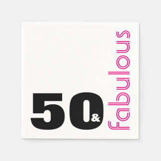 50 and Fabulous Theme 50th Birthday Party Disposable Napkins