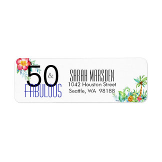 50 and Fabulous Tropical 50th Birthday Return Address Label