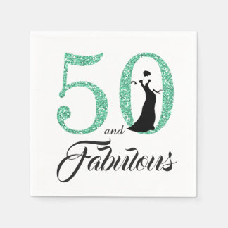 50 and Fabulous Turquoise Glitter Birthday Party Paper Napkins