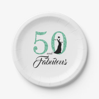 50 and Fabulous Turquoise Glitter Birthday Party Paper Plate