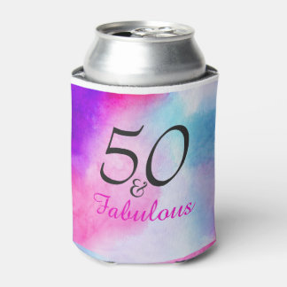 50 and Fabulous | Typography 50th birthday Can Cooler